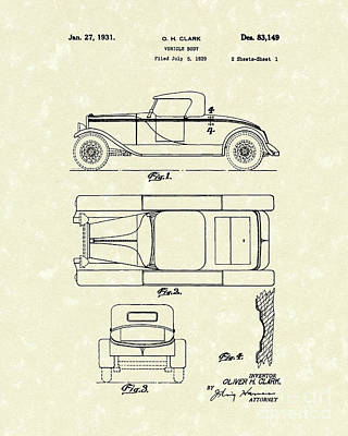Shell Drawing - Vehicle Body 1931 Patent Art by Prior Art Design