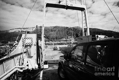 vehicle deck vehicles and vehicle loading ramp of the Caledonian MacBrayne MV Canna ferry Art Print