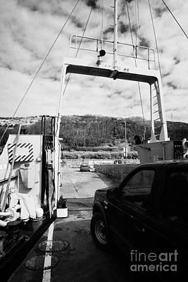 vehicle deck vehicles and vehicle loading ramp of the Caledonian MacBrayne MV Canna ferry rathlin Art Print