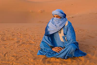 Veiled Tuareg Man Sitting Cross-legged Art Print
