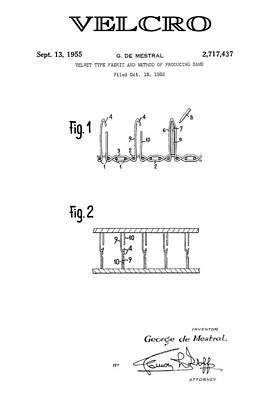 Velcro 3 Patent Art 1955 Art Print by Daniel Hagerman