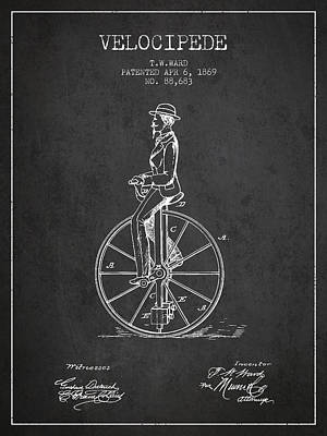 Transportation Digital Art - Velocipede Patent Drawing from 1869- Dark by Aged Pixel