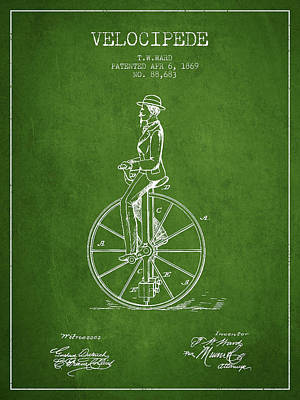 Transportation Digital Art - Velocipede Patent Drawing from 1869- Green by Aged Pixel