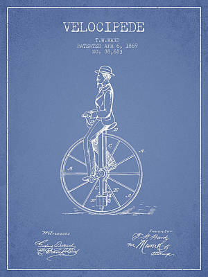 Transportation Digital Art - Velocipede Patent Drawing from 1869- Light Blue by Aged Pixel