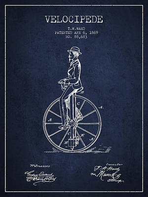 Transportation Digital Art - Velocipede Patent Drawing from 1869- navy Blue by Aged Pixel