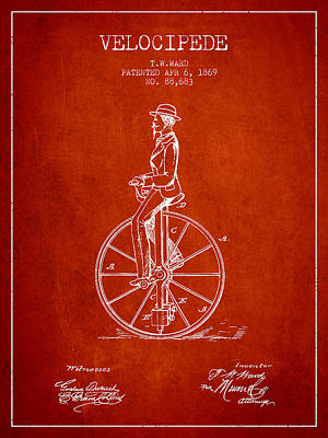 Transportation Digital Art - Velocipede Patent Drawing from 1869- Red by Aged Pixel