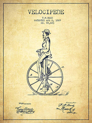 Transportation Digital Art - Velocipede Patent Drawing from 1869- Vintage by Aged Pixel