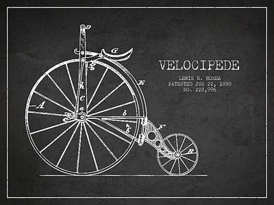 Transportation Digital Art - Velocipede Patent Drawing from 1880 - Dark by Aged Pixel