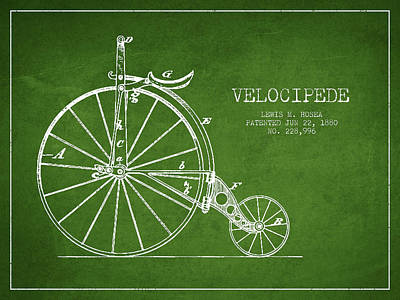 Transportation Digital Art - Velocipede Patent Drawing from 1880 - Green by Aged Pixel