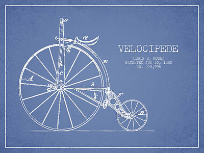 Transportation Digital Art - Velocipede Patent Drawing from 1880 - Light Blue by Aged Pixel