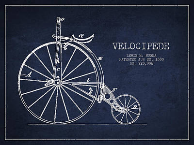 Velocipede Patent Drawing From 1880 - Navy Blue Art Print