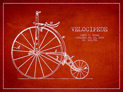 Transportation Digital Art - Velocipede Patent Drawing from 1880 - Red by Aged Pixel