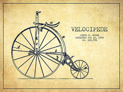 Transportation Digital Art - Velocipede Patent Drawing from 1880 - Vintage by Aged Pixel