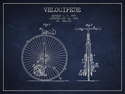 Transportation Digital Art - Velocipede Patent Drawing from 1881 - Navy Blue by Aged Pixel