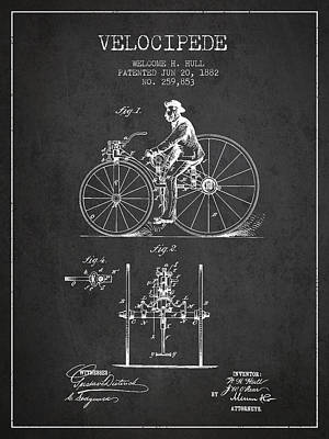 Transportation Digital Art - Velocipede Patent Drawing from 1882 - Dark by Aged Pixel