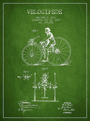 Transportation Digital Art - Velocipede Patent Drawing from 1882 - Green by Aged Pixel