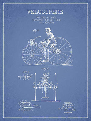 Transportation Digital Art - Velocipede Patent Drawing from 1882 - Light Blue by Aged Pixel