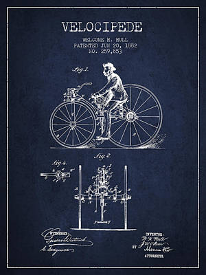 Transportation Digital Art - Velocipede Patent Drawing from 1882 - Navy Blue by Aged Pixel