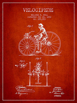 Transportation Digital Art - Velocipede Patent Drawing from 1882 - Red by Aged Pixel