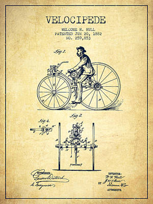 Transportation Digital Art - Velocipede Patent Drawing from 1882 - Vintage by Aged Pixel