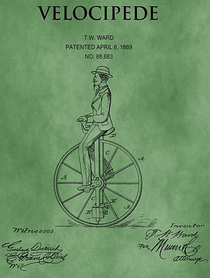 Velocipede Patent Green Art Print