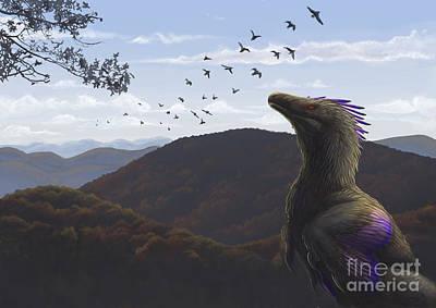 Velociraptor Digital Art - Velociraptor In An Autumn Landscape by Emily Willoughby