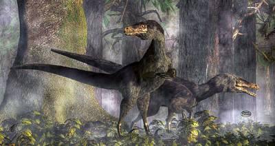 Velociraptor Digital Art - Velociraptors Hunting by Daniel Eskridge