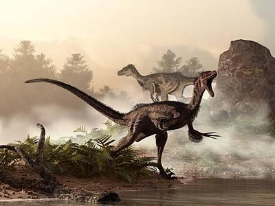 Velociraptors Prowling The Shoreline Art Print by Daniel Eskridge