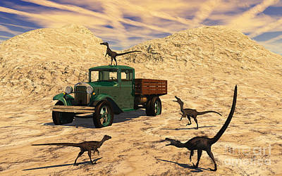 Velociraptors React Curiously Art Print by Mark Stevenson