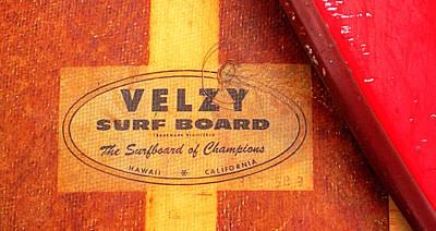 Velzy Surf Board Art Print by Ron Regalado
