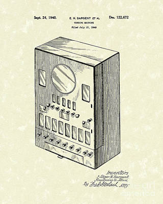 Drawing - Vending Machine 1940 Patent Art by Prior Art Design