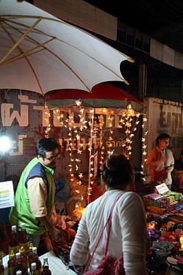 Vendors - Night Street Market - Chiang Mai Thailand - 011335 Print by DC Photographer