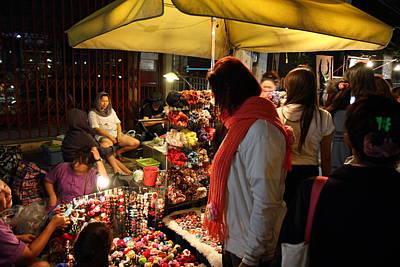Nightime Photograph - Vendors - Night Street Market - Chiang Mai Thailand - 01134 by DC Photographer