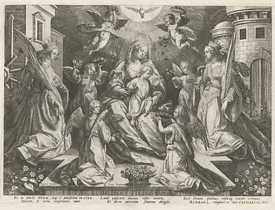 St Barbara Drawing - Veneration Of Mary With The Christ Child With St by Rapha?l Sadeler (i)