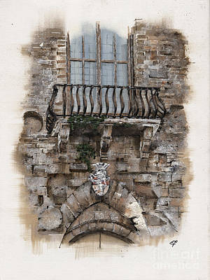 Entrance Door Drawing - Venetian Balcony 02 Elena Yakubovich by Elena Yakubovich