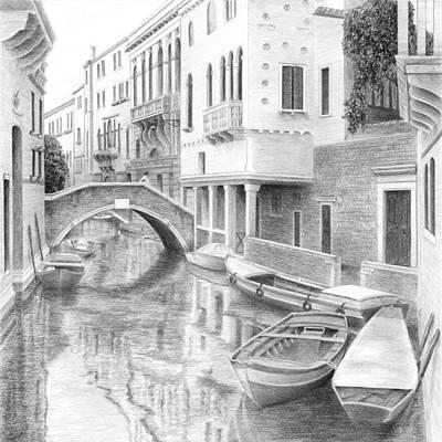 Venice Drawing - Venetian Boats by Diane Cardaci
