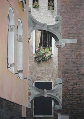 Venetian Buttresses - Pastel Art Print by Ben Kotyuk