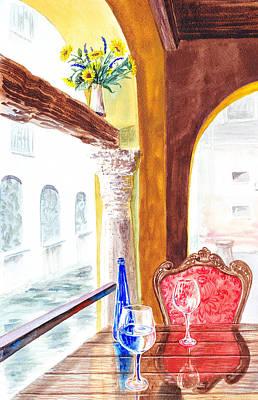 Venetian Cafe Art Print by Irina Sztukowski