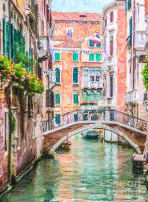 Digital Art - Venetian Canal by Liz Leyden