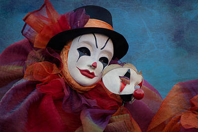 Clown Pair Photograph - Venetian Carnival - Portrait Of Clown With Mask by Zina Zinchik