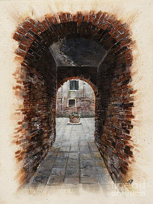 Art Print featuring the painting Venetian Courtyard 01 Elena Yakubovich by Elena Yakubovich