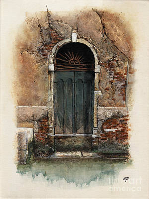 Art Print featuring the painting Venetian Door 01 Elena Yakubovich by Elena Yakubovich
