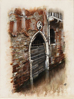 Art Print featuring the painting Venetian Door 03 Elena Yakubovich by Elena Yakubovich