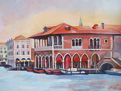 Venetian Fish Market Original by Filip Mihail