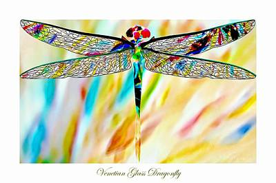 Glass Dragonfly Painting - Venetian Glass Dragonfly by Barbara Chichester