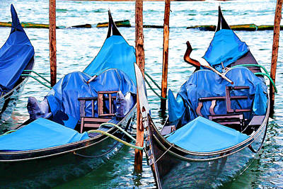 Digital Art - Venetian Gondolas by Brian Davis