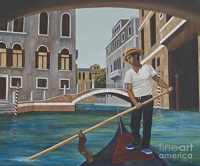 Painting - Venetian Gondolier by AnnaJo Vahle