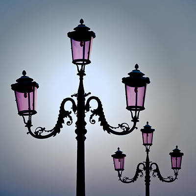 Streetlight Photograph - Venetian Lamps by Dave Bowman