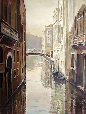 Venetian Life Oil On Canvas Art Print by Kevin Parrish