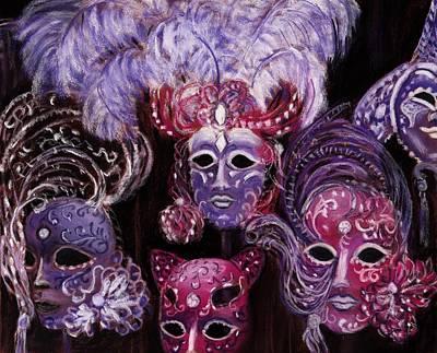 Feather Painting - Venetian Masks by Anastasiya Malakhova